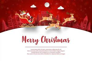 joyeux noël et bonne année, carte postale de noël du père noël dans le village