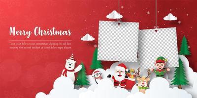 bannière de carte postale de Noël de cadres photo avec le père Noël et ses amis