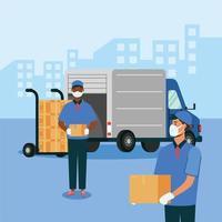 camion femme et homme avec des masques et des boîtes sur la conception de vecteur de chariot