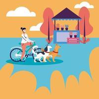 femme, équitation, vélo, à, masque médical, et, chiens, à, parc, vecteur, conception