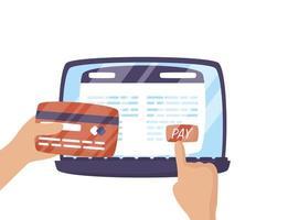ordinateur portable avec utilisateur et carte de crédit
