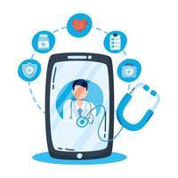 médecin professionnel avec stéthoscope sur smartphone