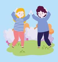 Groupe de personnes ensemble pour célébrer un événement spécial, homme et femme dansant célébrant dans le parc