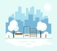 Paysage d'hiver urbain vecteur