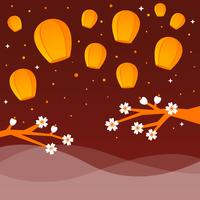 Lanterne dans le vecteur de Festival de ciel nocturne