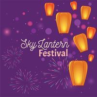 Festival des lanternes célestes avec feux d'artifice vecteur