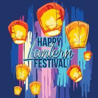 Festival des lanternes de ciel avec illustration dessinés à la main vecteur