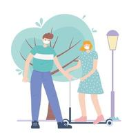 personnes avec masque médical, femme sur scooter et garçon dans la rue, activité de la ville pendant le coronavirus vecteur