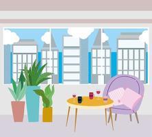 restaurant ou une table de café avec verres à vin et tasse à café dans la table et les plantes vecteur