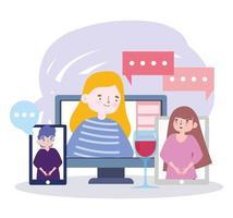 fête en ligne, rencontrer des amis, saluer les gens par les médias sociaux ou par téléphone pour garder la distance vecteur