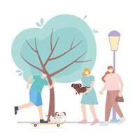 personnes avec masque médical, personnes faisant du skateboard marchant avec des chiens dans un parc, activité de la ville pendant le coronavirus vecteur