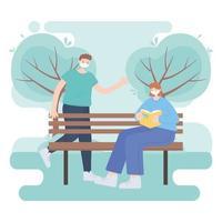 personnes avec masque médical, femme lisant un livre sur un banc et parc à pied pour garçon, activité de la ville pendant le coronavirus vecteur