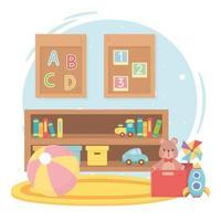 enfants jouets objet amusant dessin animé salle étagère tapis ours rocket ball livres et train vecteur