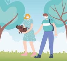 personnes avec masque médical, femme portant un chien et un garçon marchant, activité de la ville pendant le coronavirus vecteur