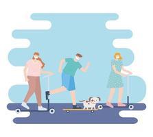 personnes avec masque médical, femmes et hommes faisant du patin avec un animal de compagnie, activité de la ville pendant le coronavirus vecteur