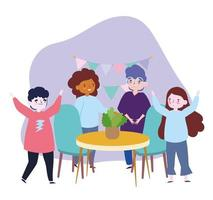 groupe de personnes ensemble à la maison pour célébrer un anniversaire événement spécial vecteur