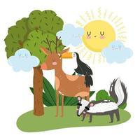 animaux mignons cerf moufette et toucan herbe feuillage arbre dessin animé sauvage