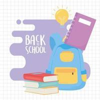 retour à l & # 39; école, livres de sac à dos et dessin animé d & # 39; éducation pour ordinateur portable