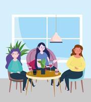 restaurant à distance sociale ou café, jeunes femmes assises à table gardent leurs distances, coronavirus covid 19, nouvelle vie normale vecteur
