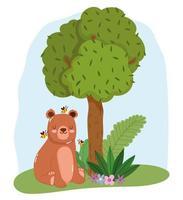 animaux mignons ours assis avec des abeilles sur herbe arbre nature dessin animé sauvage vecteur