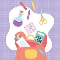 retour à l'école, sac à dos calculatrice ciseaux tube à essai crayons couleur éducation dessin animé