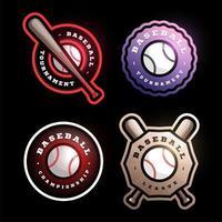 jeu de logo vectoriel circulaire de baseball