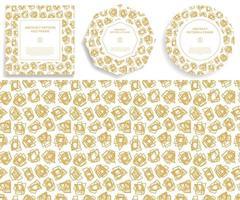 ensemble de main d'or dessiner bordure de cadre de formes abstraites
