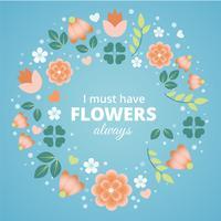 Carte de voeux printemps printemps design plat vecteur