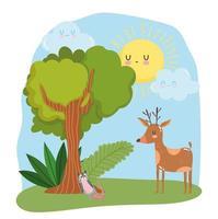 animaux mignons renne et opossum herbe feuillage arbre nature sauvage dessin animé