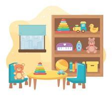 enfants jouets chambre étagère table objet divertissement dessin animé vecteur