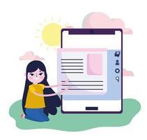 jeune femme, smartphone, contenu, information, web, médias sociaux