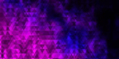 toile de fond de vecteur violet foncé avec des lignes, des triangles.