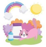 chat avec emballage alimentaire et bouteille vétérinaire animaux de compagnie