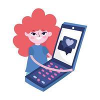 bulle de dialogue smartphone jeune femme amour médias sociaux