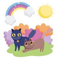 dessin animé, chats noirs et bruns, dans, herbe ciel