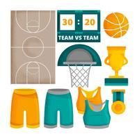 Éléments de basket-ball de vecteur
