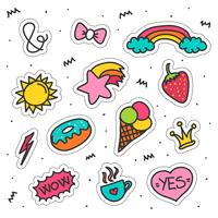 doodle patches set vecteur