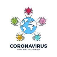 priez pour le concept de coronavirus mondial vecteur