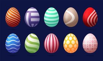 ensemble de 10 oeufs de Pâques de couleur avec motif vecteur