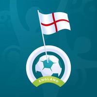 drapeau de vecteur de l'Angleterre épinglé sur un ballon de football