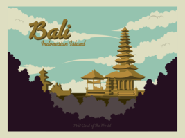 Vecteur de carte postale de Bali