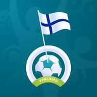 drapeau de vecteur de la Finlande épinglé sur un ballon de football