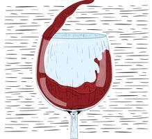 Verre dessiné à la main de vecteur de vigne