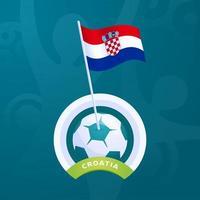 drapeau de vecteur de croatie épinglé sur un ballon de football
