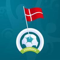 drapeau vecteur danemark épinglé sur un ballon de football