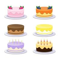 ensemble de gâteau d'anniversaire vecteur