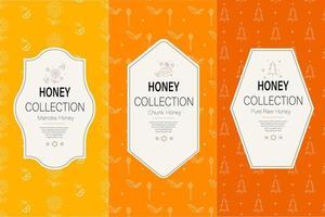 collection de motifs de miel naturel. palette de couleurs chaudes de teintes dorées vecteur