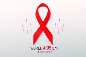 ruban rouge de sensibilisation au vih. concept de la journée mondiale du sida. illustration vectorielle moderne