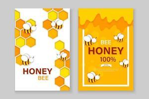 abeille de style papier découpé avec des nids d'abeilles. conception de modèle pour l'apiculture et le produit du miel.