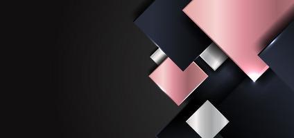 Forme carrée géométrique abstraite or rose brillant, argent, couleur bleu foncé se chevauchant avec des ombres sur fond noir vecteur
